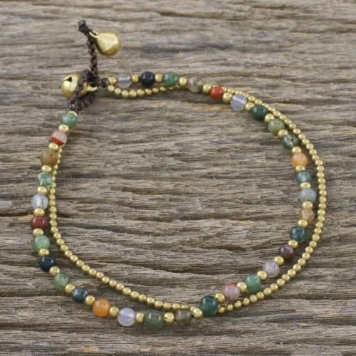 Handmade Multi-Color Agate Brass Beaded Anklet with Loop 'Valley of Color'