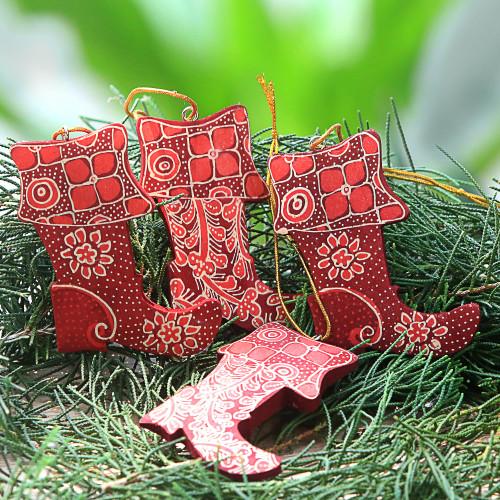 Four Batik Wood Stocking Ornaments from Java 'Java Stockings'