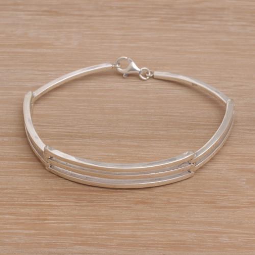 Men's Handmade Sterling Silver Bracelet from Bali 'Ternion'