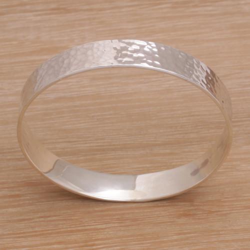 Handmade Sterling Silver Bangle Bracelet from Bali 'Celestial Reflection'