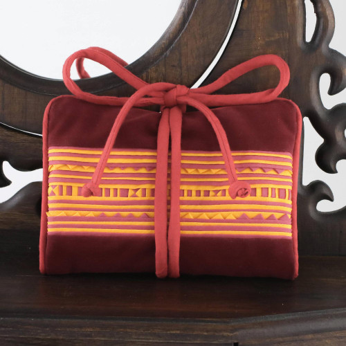 Handmade Lisu Hill Tribe Velvet Jewelry Roll from Thailand 'Precious Hill Tribe in Red'
