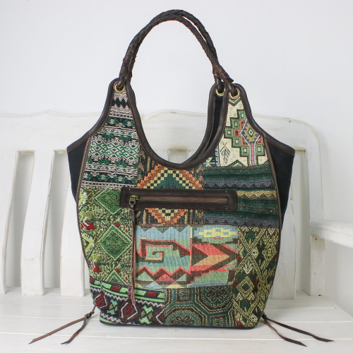 Handmade Patchwork Geometric Cotton Blend Shoulder Bag 'Gorgeous Geometry in Green'