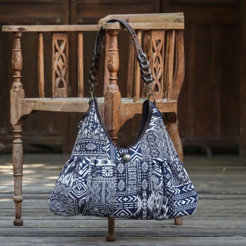 Artisan Handmade Cotton Blend Patchwork Shoulder Bag 'Graceful Geometry in Blue'