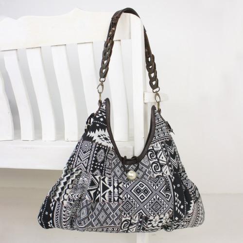 Cotton Blend Handmade Artisan Patchwork Shoulder Bag 'Graceful Geometry in Black'