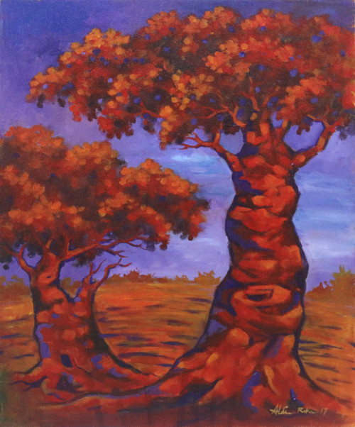 Signed Impressionist Painting of Two Trees from Java 'Plumeria Sunset'