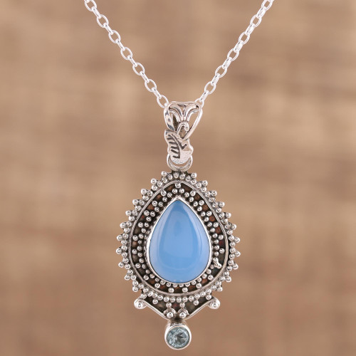 Handcrafted Blue Chalcedony Pendant Necklace from India 'Soul's Serenity'