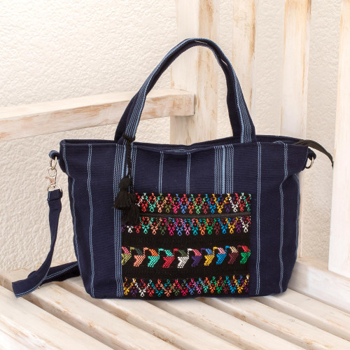 Handwoven Striped Cotton Tote in Navy from Guatemala 'Tactic Stripes in Navy'