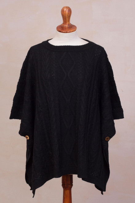 Black Cable Knit Alpaca Blend Poncho from Peru 'Colonial Charm in Black'