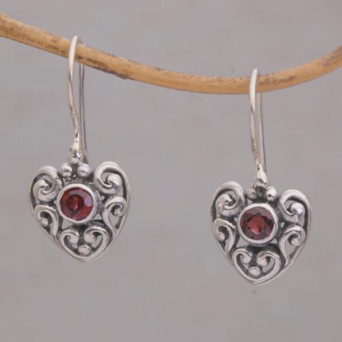 Heart-Shaped Garnet Dangle Earrings from Bali 'Marry Me'
