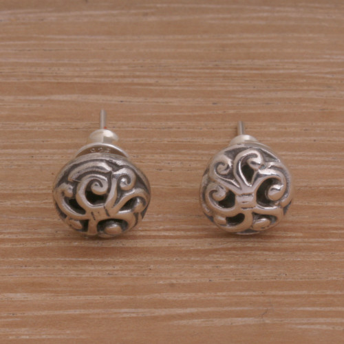Spiral Motif Circular Sterling Silver Earrings from Bali 'Dreamy Spirals'