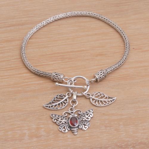 Garnet and Silver Butterfly Charm Bracelet from Bali 'Butterfly Dawn'