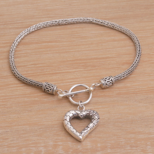 Sterling Silver Heart Charm Bracelet Crafted in Bali 'Love Is Complex'