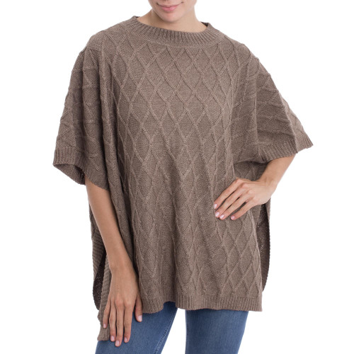 Peruvian Taupe Alpaca Blend Poncho with Rhombus Design 'Andean Romance in Taupe'