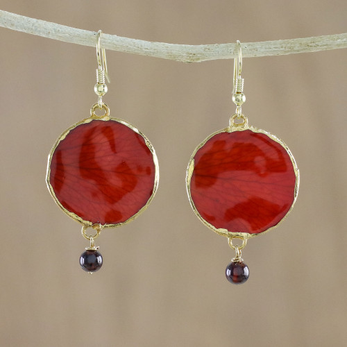 Garnet and Gold Plated Natural Rose Petal Dangle Earrings 'Red Rose of Autumn'