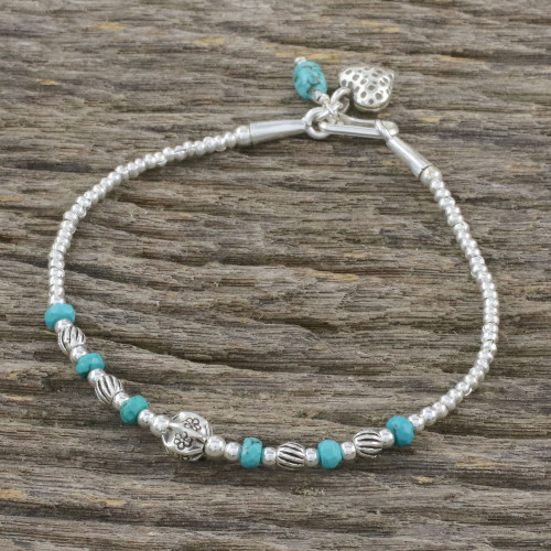 Reconstituted Turquoise Beaded Bracelet from Thailand 'Love of the Ocean'