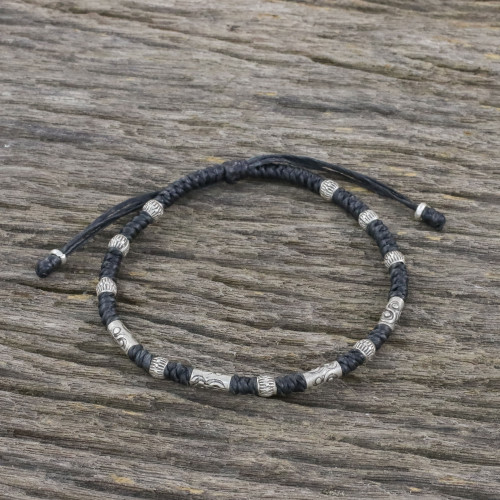 Hill Tribe Style 950 Silver And Black Cord Bracelet 'True Balance in Black'