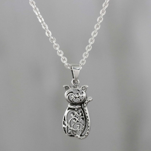 Sterling Silver Cat Pendant Necklace from Thailand 'Fortunate Feline'
