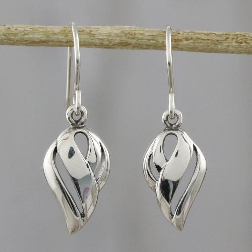 Thai Dewdrop Shaped Sterling Silver Dangle Earrings 'Tropical Breeze'