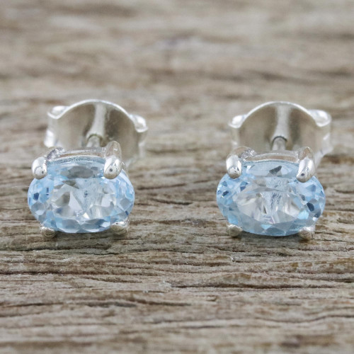 Classic Blue Topaz Stud Earrings from Thailand 'Everlasting Blue'
