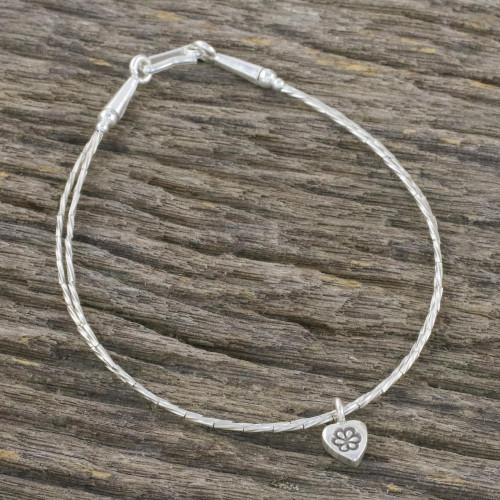 Thai Karen Silver Beaded Bracelet with Heart Shaped Charm 'Heart and Charm'