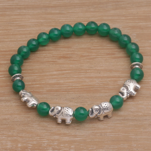 Green Quartz Beaded Bracelet with Sterling Silver Elephants 'Elephant Cavalcade in Green'