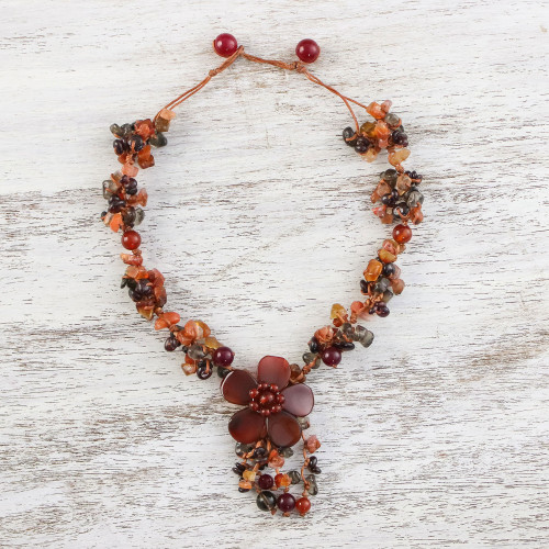 Floral Multi-Gemstone Beaded Pendant Necklace from Thailand 'Dazzling Bloom'
