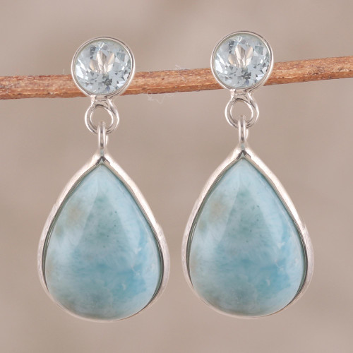 Dazzling Larimar and Blue Topaz Dangle Earrings from India 'Alluring Sky'