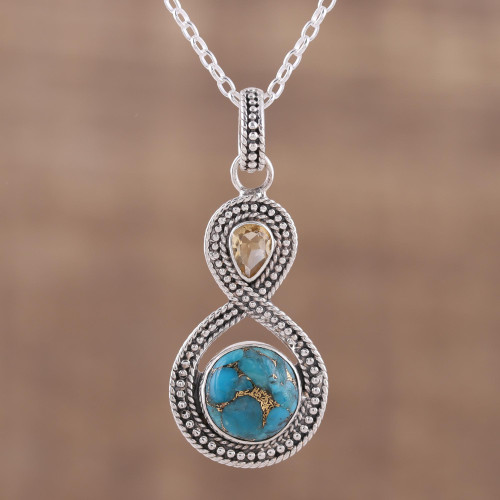 Indian Citrine and Composite Turquoise Pendant Necklace 'Dazzling Infinity'