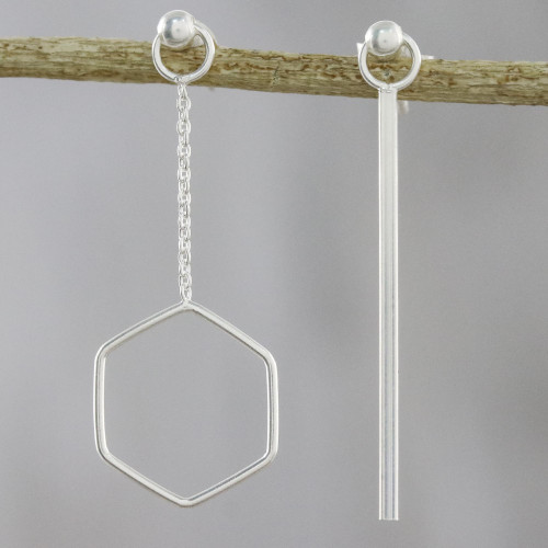 Artisan Handmade 925 Sterling Silver Earrings Hexagon Chain 'Icy Holiday'