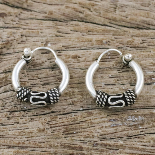 Hand Crafted Sterling Silver Hoop Earrings from Thailand 'Thai Flair'