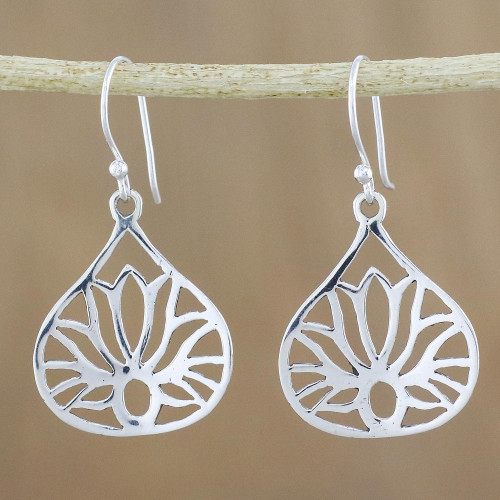 Lotus-Shaped Sterling Silver Dangle Earrings from Thailand 'Shimmering Lotus'