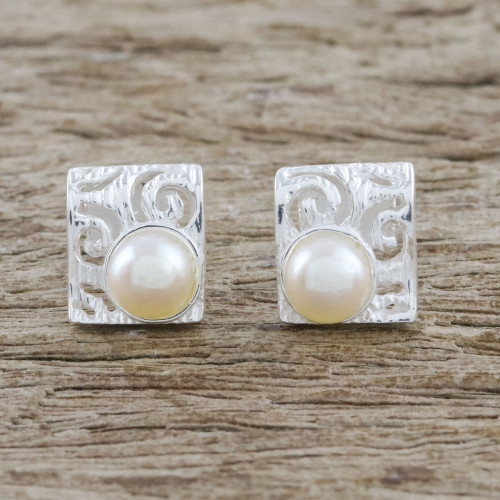 Spiral Motif Cultured Pearl Button Earrings from Thailand 'Glowing Harmony'