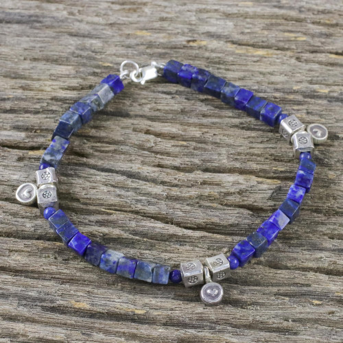 Lapis Lazuli and Karen Silver Beaded Bracelet from Thailand 'Indigo Love'