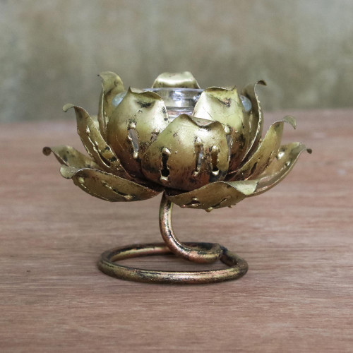 Floral Iron Tealight Holder from Thailand 'Lotus Glow'