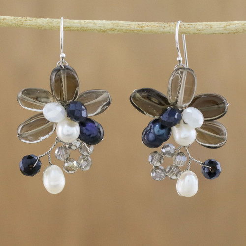 Smoky Quartz and Cultured Pearl Earrings from Thailand 'Elegant Flora'