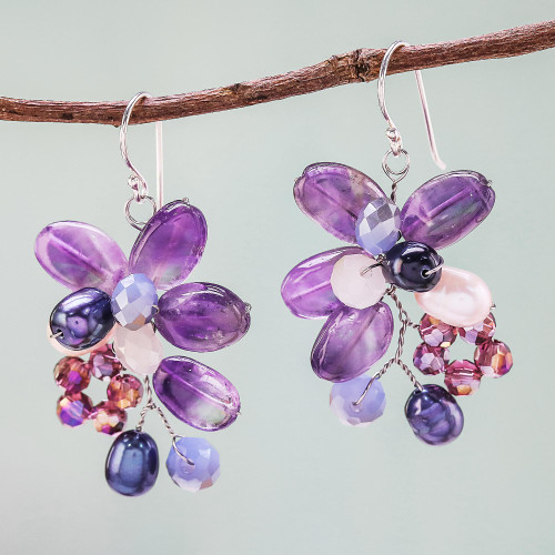 Amethyst and Cultured Pearl Earrings from Thailand 'Elegant Flora'