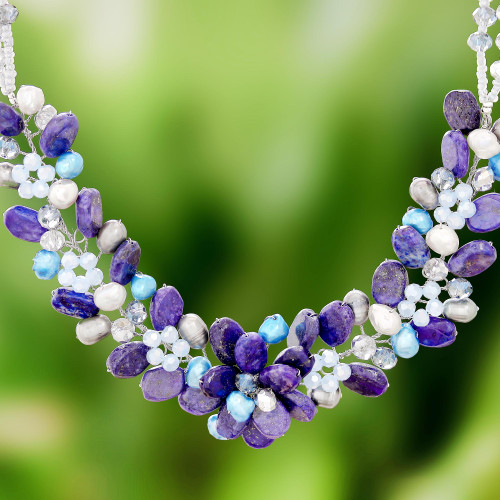 Lapis Lazuli and Cultured Pearl Necklace from Thailand 'Elegant Flora'