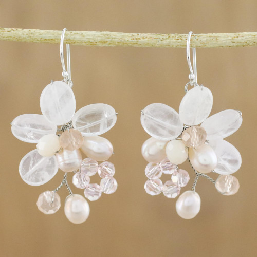 Rose Quartz and Cultured Pearl Dangle Earrings from Thailand 'Elegant Flora'