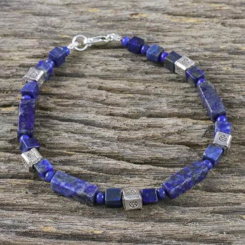 Lapis Lazuli and Silver Beaded Bracelet from Thailand 'Indigo Dream'