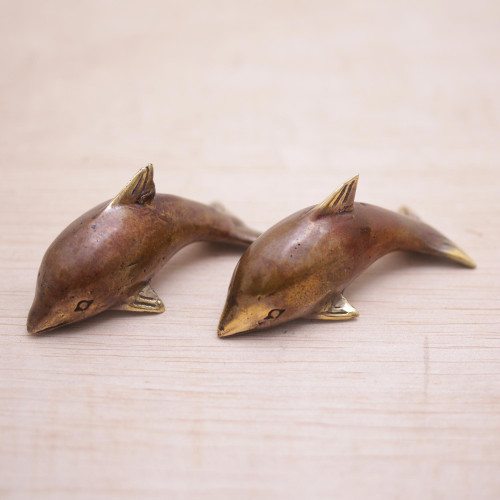 Pair of Handcrafted Balinese Bronze Dolphin Figurines 'Antique Dolphins'