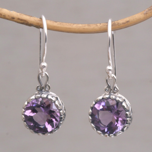 Amethyst Round Faceted Dangle Earrings 'Temptation Purple'