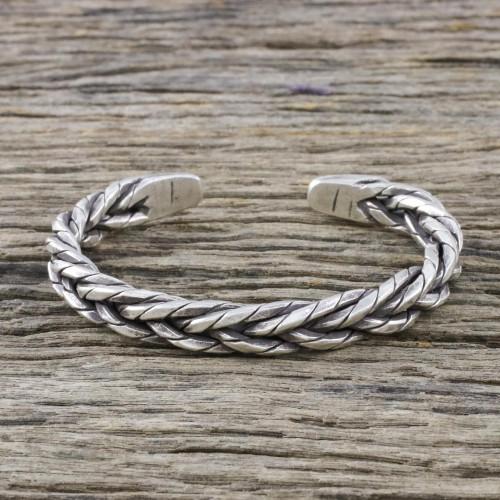 Handmade Sterling Silver Thai Hill Tribe Cuff Bracelet 'Chiang Mai Signature'