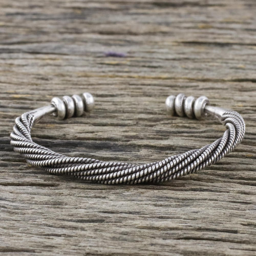 Handmade Sterling Silver Thai Hill Tribe Cuff Bracelet 'Serene Wave'