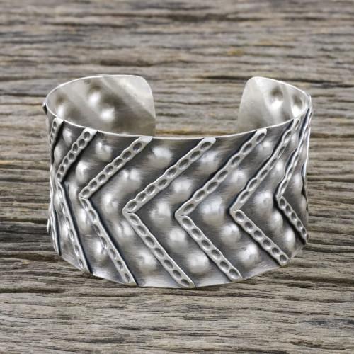 Handmade Sterling Silver Cuff Bracelet from Thailand 'Silver Splendor'
