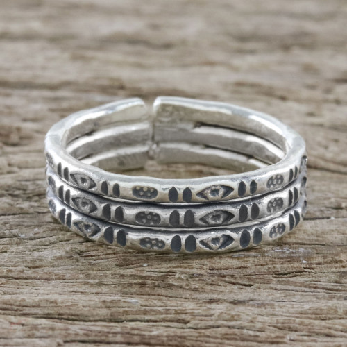 Handmade Sterling Silver Thai Hill Tribe Geometric Wrap Ring 'Mark of Lanna'