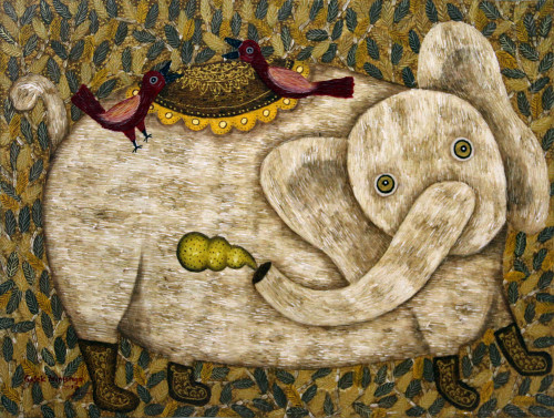 Javanese Signed Naif Style Acrylic Painting of an Elephant 'Fun Times I'