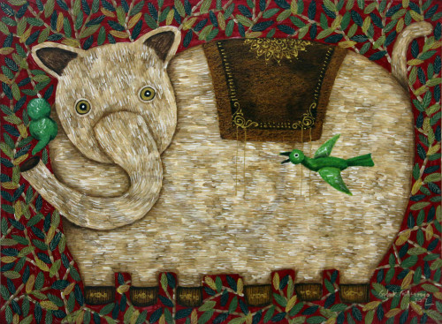 Original Acrylic on Canvas Painting of an Elephant from Java 'Fun Times II'