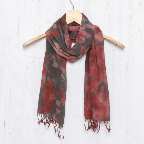 Tie-Dyed Cotton Wrap Scarf in Red from Thailand 'Heated Colors'
