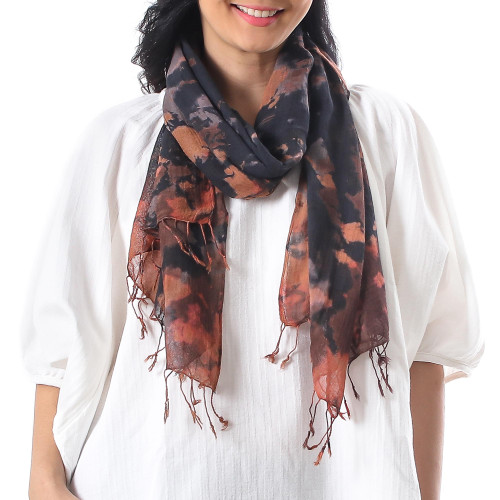Tie-Dyed Fringed Cotton Wrap Scarf in Brown from Thailand 'Subtle Colors'