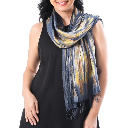 Handwoven Tie-Dyed Multicolored Silk Scarf from Thailand 'Lovely Magic'